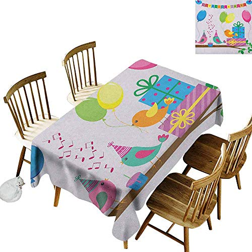 DONEECKL Kids Birthday Home Decoration Tablecloth Anti-Overflow Tablecloth Singing Birds Happy Birthday Song Flags Cone Hats Party Cake Celebration Multicolor W52 -