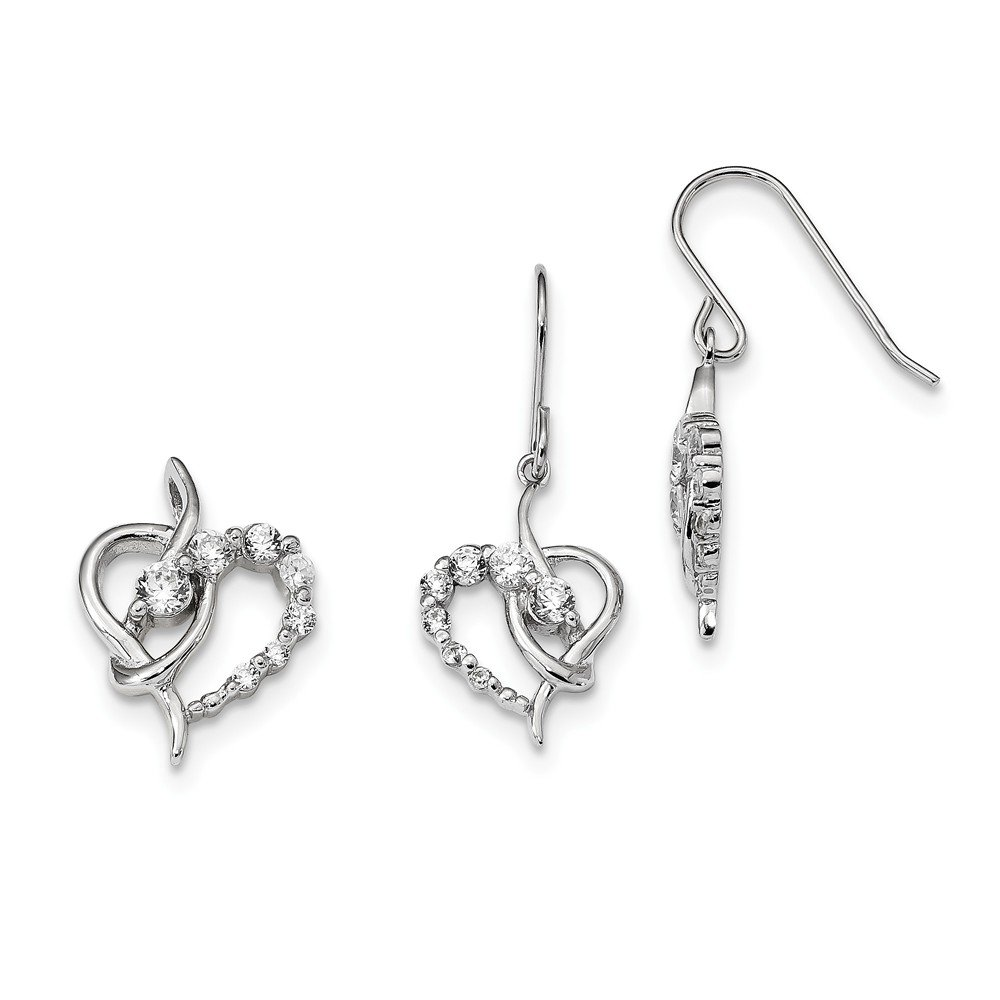 Jewelry Stores Network Sterling Silver CZ Heart Earrings and Pendant Set 31x13mm