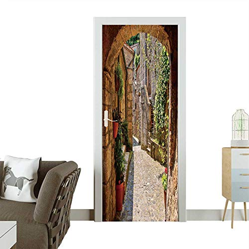 (Decorative Door Decal Arched Cobblestone Street in a Tuscan Village,Italy Stick The Picture on The Door W36 x H79 INCH)