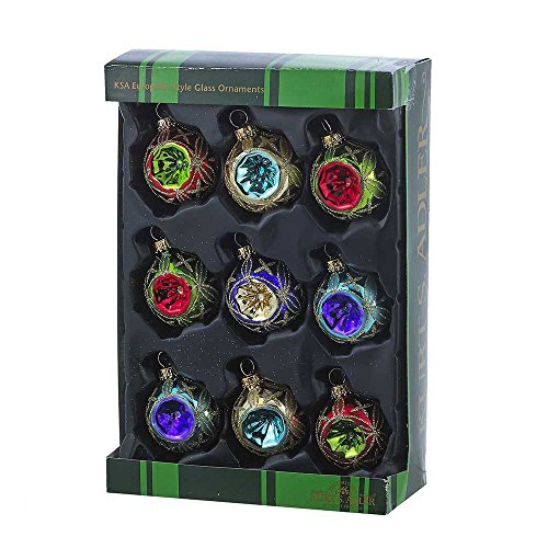Kurt Adler 45mm Glass Multicolored Reflector Ornament Set of 9, 9 Piece (Ornaments Glass Old Fashioned)