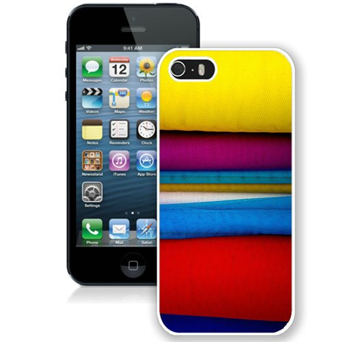 Coque,Fashion Coque iphone 5S Colorful Stack Of Clothing blanc Screen Cover Case Cover Fashion and Hot Sale Design