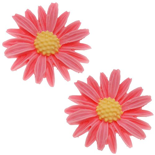 Beadaholique Lucite Flower Cabochons Carved Pink Daisy 27mm (2)