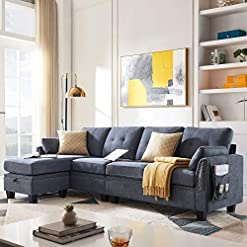 Farmhouse Living Room Furniture HONBAY Reversible Sectional Sofa Couch L-Shape Sofa Couch 4-seat Sofas Sectional for Apartment Bluish Grey farmhouse sofas and couches