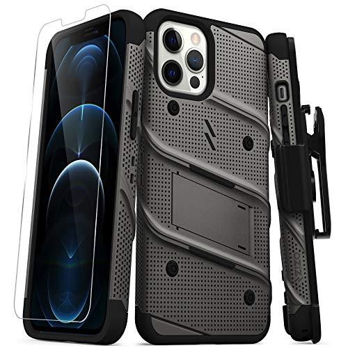 ZIZO Bolt Series for iPhone 12 Pro Max Case with Screen Protector Kickstand Holster Lanyard – Gun Metal Gray