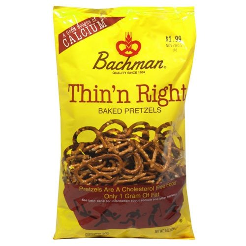 Bachman Thin'n Right Baked Pretzels 9 Oz (Pack of 3)