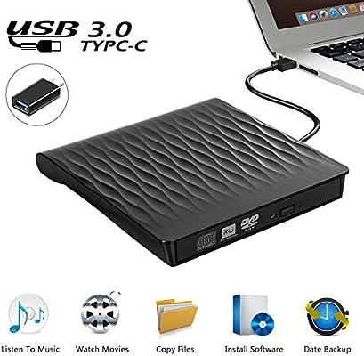 Grabadora CD/DVD Externa, DIGDAN USB 3.0 Delgada Portátil Unidad de CD y DVD, Transferencia de Datos de Alta Velocidad Unidad Optica para PC de ...