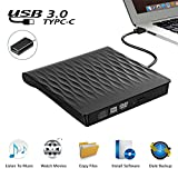 External CD DVD Drive, USB 3.0 Slim Portable External CD DVD Rewriter Burner Writer, High Speed Data Transfer USB Optical Drive for PC Desktop/Laptop/Linux/Windows 10/8/7/XP(Black)