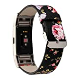 MagicFeel Women Girls Fashion Floral Soft Leather Replacement Accessories Bands Wristband Flower Strap Compatible for Fitbit Charge 2 Smart Watch
