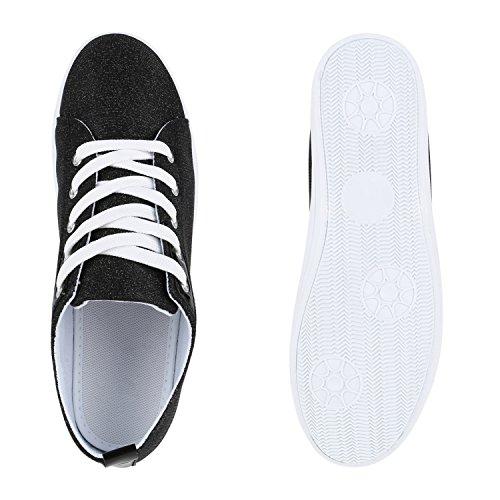 Stiefelparadies Damen Sneaker Low Lack Glitzer Flandell Schwarz