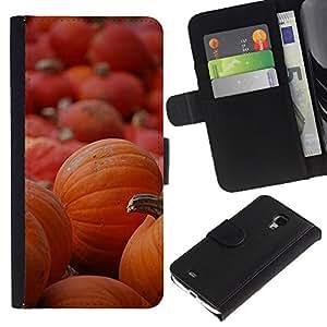 iKiki Tech / Cartera Funda Carcasa - Halloween Orange Autumn Holiday - Samsung Galaxy S4 Mini i9190 MINI VERSION!