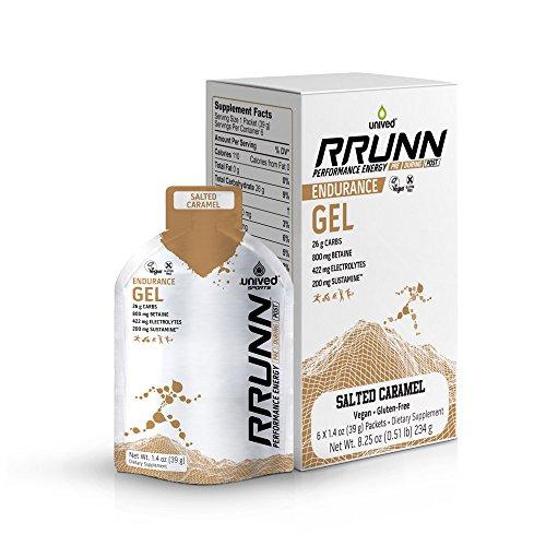Unived RRUNN Endurance Gel, Nutrition Energy Gel for Endurance Athletes, Runners, Cyclists, Triathletes, Ultramarathon Runners, Vegan, Pack of 6 (Salted Caramel (6pack))