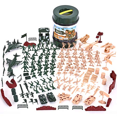 JOYIN Military Soldier Playset Army Men Play Bucket Army Action Figures Battle Group Deluxe Military Playset with Army Men, Aircrafts, Helicopters, Tanks with Bucket (164 -