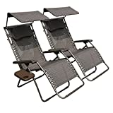 Abba Patio Zero Gravity Lounge Chair 2-Pack Oversized Adjustable Folding Recliner with Sunshade and Drink Tray Review