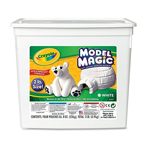 Crayola 57-4400 Model Magic Modeling Compound, 2-lb. Bucket, White, Four 8-oz. Pouches, Case of 2 Boxes - Magic Clay Crayola