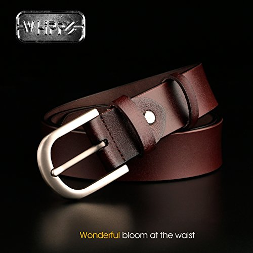 WHIPPY Coffee Genuine Leather Dress Belts for Women Fashion Western Designer Belts,03-coffee,Suit Pant Size 28inch-34inch by Whippy (Image #1)'