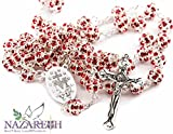 Unique Red Crystals Beads Rosary Necklace Jesus Cross and Miraculous Medal (Holy Land)
