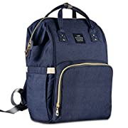 HaloVa Diaper Bag Multi-Function Waterproof Travel Backpack Nappy Bags for Baby Care, Large Capacity, Stylish and Durable, Dark Blue