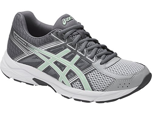 ASICS Womens Contend 4 Running Sneaker, Mid Grey/Glacier Sea/Silver, Size 9 Wide