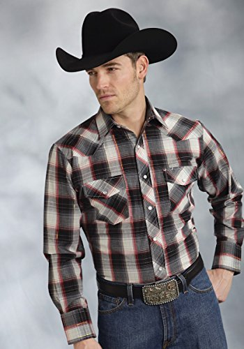 (Roper Men's Plaid Long-Sleeved Western Shirt with Lurex, Red/Gold, L)