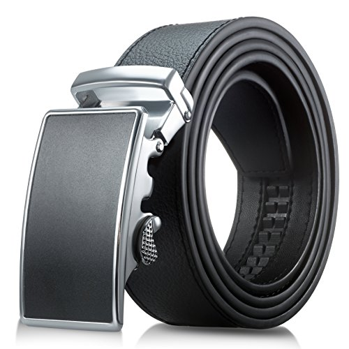Men's Genuine Leather Belt- Ratchet Black Dress Belt for Men with Automatic Buckle. (Up to Size 46, Black With Buckle #03)