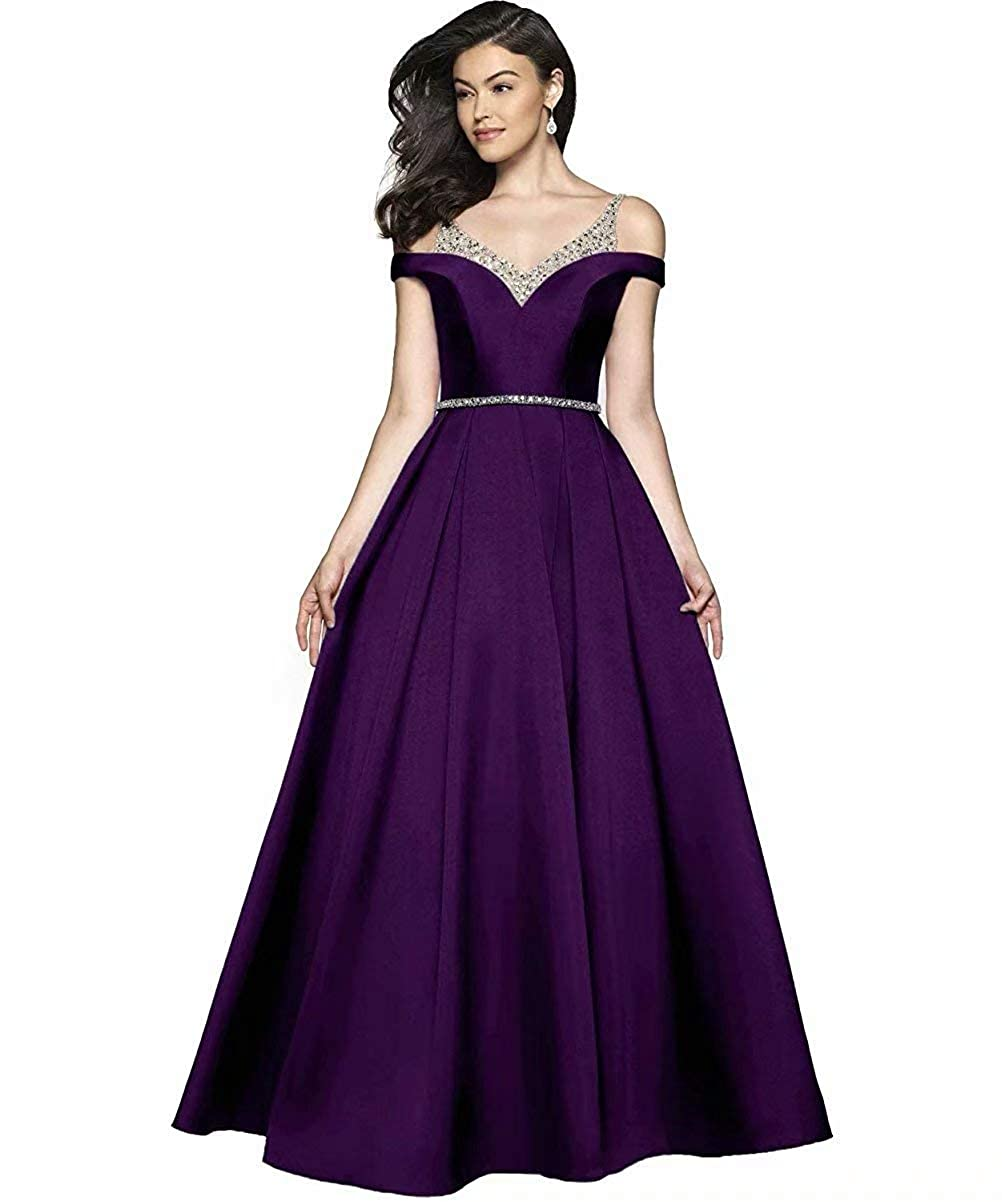 Plum JYDX Women's Cold Shoulder V Neck Pleated Satin ALine Evening Prom Dress Long Formal Party Gown with Beaded Bodice