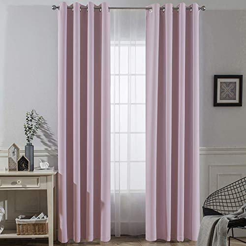 Grommet Rose (Yakamok Cute Pink Rose Good Sleep Grommet Blackout Curtains for Girl's Room-52x84 inches(2 Panels))