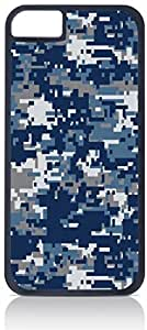 Blue and Grey Digital Camo - Case for the Apple Iphone 6 plus (5.5)-Hard Black Plastic Outer Shell with Inner Soft Black Rubber Lining