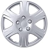 BDK HK993 15' Silver Hubcaps Wheel Covers for Toyota Corolla (15 inch) – Four (4) Pieces Corrosion-Free & Sturdy – Full Heat & Impact Resistant Grade – OEM Replacement, 4 Pack