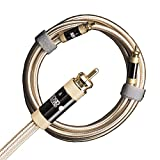 Aurum Ultra High-Performance, Unbalanced Subwoofer Cable, 100% Shield Low (Signal) Level RCA Male to RCA Male, Single Cable Up to 49' ((3M / 9.8Ft))