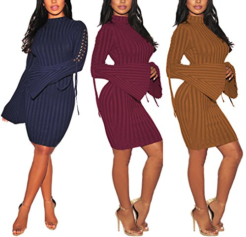 Sexycherry Womens Long Sleeve Casual Work Business Party Stretchable Elasticity Slim Fit Sweater Dress by sexycherry (Image #7)