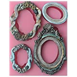 oval frames - Funshowcase Sugarcraft Vintage Oval Mirror Frames Silicone Mold