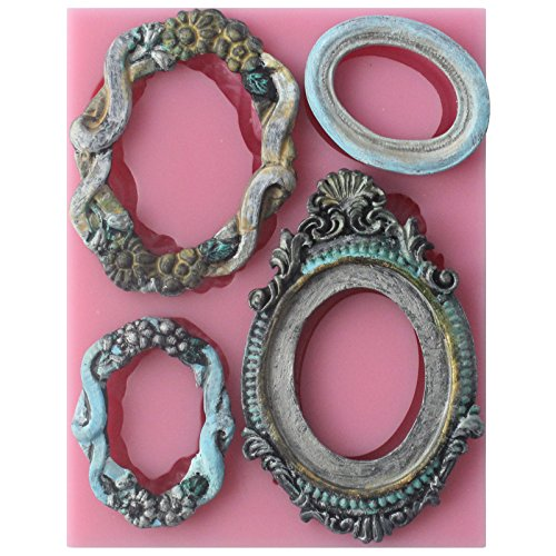 Funshowcase Sugarcraft Vintage Oval Mirror Frames Silicone Mold (Molds Vintage Chocolate)