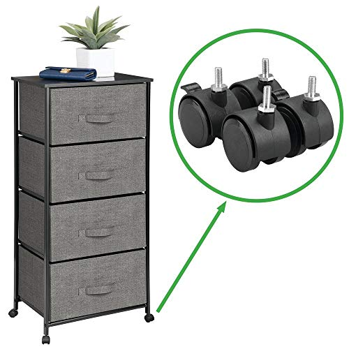 Classics Charcoal Textured - mDesign Vertical Rolling Dresser Storage Tower - Mobile Organizer for Bedroom, Hallway, Entryway, Closets - Metal Frame, Wood Top, Locking Wheels - 4 Fabric Drawers, Textured - Charcoal Gray/Black