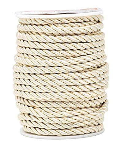 Mandala Crafts 5mm 3/16 Inch Rayon Home Décor Piping Braided Trim Rope Twisted Cord (5mm, Cream) - Rayon Twist Cord
