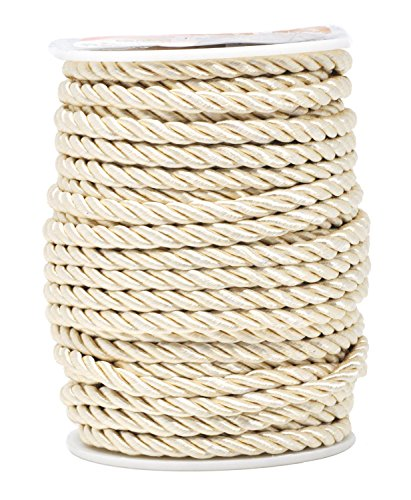 Mandala Crafts Rayon Twisted Cord Trim, Shiny Viscose Cording for Home Décor, Upholstery, Curtain Tieback, Honor Cord (5mm, Cream)
