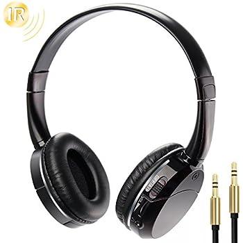 IR Headphones Wireless Infrared Headset Foldable Lightweight On-ear for In Car Video Headrest DVD Player Flip Down Monitor Kids Size 2 Channel (Black)