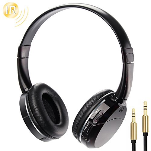 IR Headphones Wireless Infrared Headset Foldable Lightweight On-ear for In Car Video Headrest DVD Player Flip Down Monitor Kids Size 2 Channel (Black) (Dual Ir Wireless Channel Headphones)