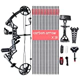 Cheap XQMART Compound Bow Package,Archery for Adults,with Hunting Accessories,Right Handed,19-30″ Draw Length:15-70Lbs Draw Weight,IBO Rate 320fps (Ship from USA Warehouse) (M1-Black)