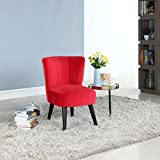 Cheap Divano Roma Furniture Classic and Traditional Living Room Velvet Fabric Accent Chair (Red)