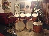 1970 ludwigs 8 piece octoplus drum set. Tan in color.