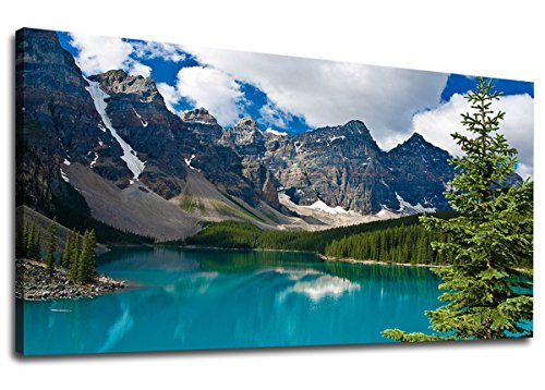 yearainn Large Canvas Wall Art Mountain and Lake Scenery Painting Long Canvas Artwork Contemporary Nature Picture for Home Office Wall Decor 24