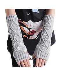 LerBen Women's Knitted Woolen Arm Warmers Long Warm Fingerless Gloves