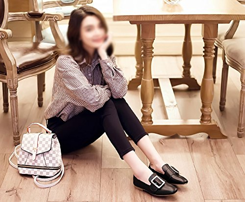Planos Cuero ZCJB Blancos UK3 Beige De Profunda Tamaño Poco Botón De De Cabeza Ocioso Casuales Negro EU36 Zapatos Y Zapatos Primavera Zapatos Zapatos Verano L Cuadrada Femenino Color 2 Cuadrado Boca qx6vqr