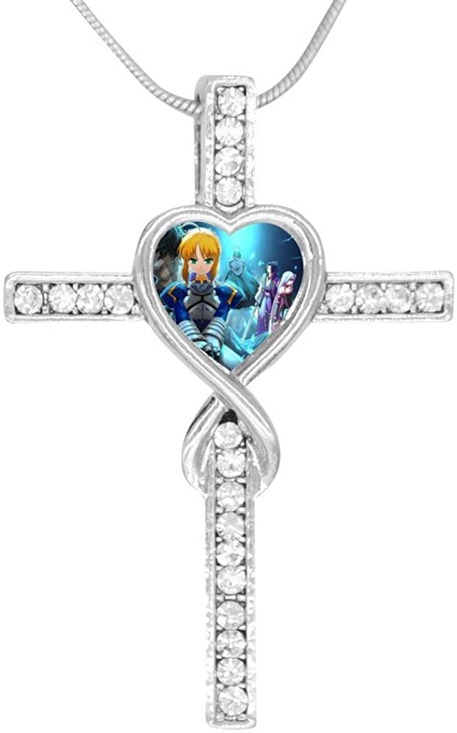 Fa-te St-ay Ni-ght 3D Print Zinc Alloy Stainless Steel Silver Steel Love and Cross Combination Necklace Jewelry for Men Women