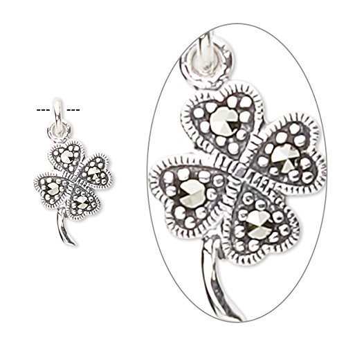 Charm marcasite (natural) and sterling silver 14x10mm 4-leaf clover-H20-3257FD - Marcasite Bag