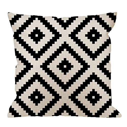 GOOESING Graphic Arrangement Black White Diamond Grid Pixel White Black Linen Comfortable Beautiful Throw Pillow Case/Pillow Cover Size 24x24 Inches