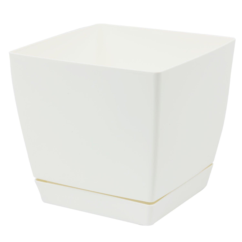 Pot de fleur blanc carré 23 cm plastique Coubi, soucoupe amovilbe Prosperplast