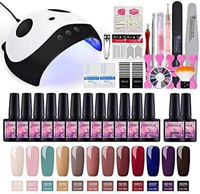 Saint-Acior Kit Pintauñas de Gel 12PCS Esmalte Semipermanente Soak off 8ml Nail Dryer 36W UV/LED Lámpara Secador de Uñas Top Coat Base Coat Manicura Kit: Amazon.es: Belleza
