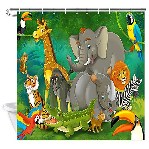 Wild Animals Polyester Shower Curtain - NYMB Safari Wild Animal for Kids Shower Curtains, Cartoon Elephants and Giraffes Family in Forest, Polyester Fabric Kids Zoo Bath Curtains for Bathroom, Shower Curtain Hooks Included, 69X70in