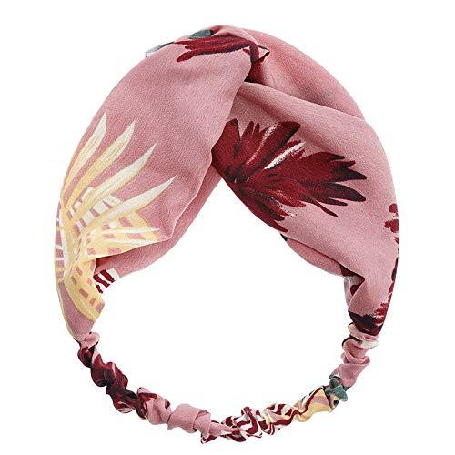 MOPOLIS Women Ladies Leaf Print Knotted Elastic Hair Hoop Hairband Headband Head Wrap | Colors - Pink]()